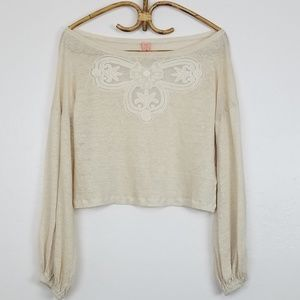 FARM Rio Long Sleeve Linen Crop Top Lace Front Sm